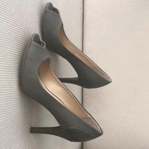 warm grey calvin klein peep toe heels. size 7.